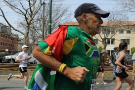 A runner at the 2013 Boston Marathon, hours before the explosion.